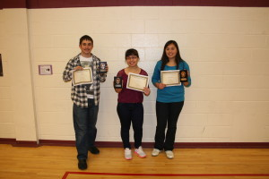 We're on an Honour Roll! 2012-2013 Top Marks: Erik Luomala, Gracie Mascotto, Mary-Rose Mascotto