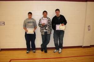 2012-2013 Grade 10 Honour Roll: Dominique Lafrance, Erik Luomala, Ryan Daines